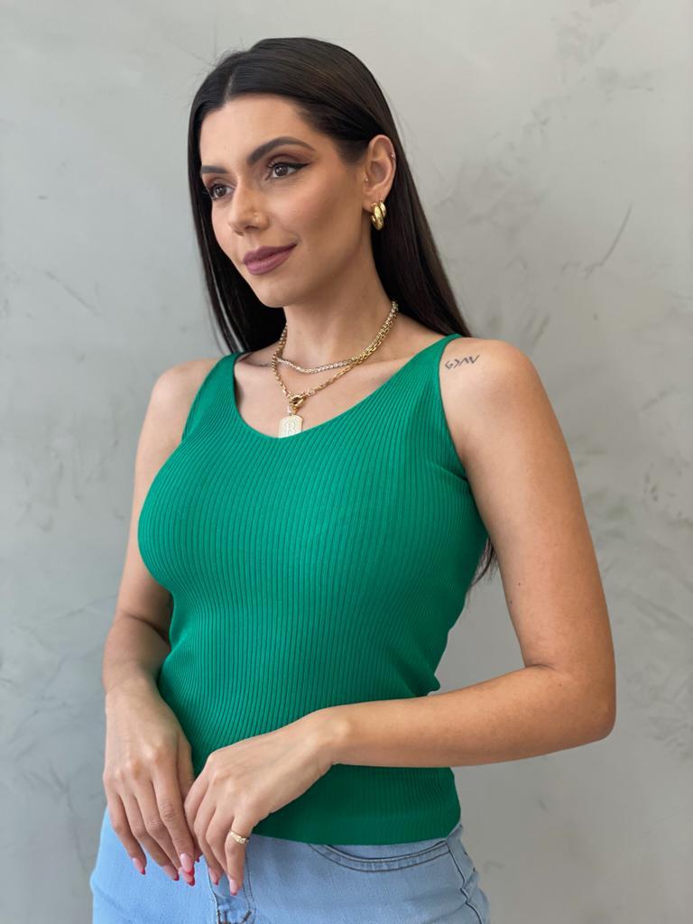 Blusa de Tricot de alça verde