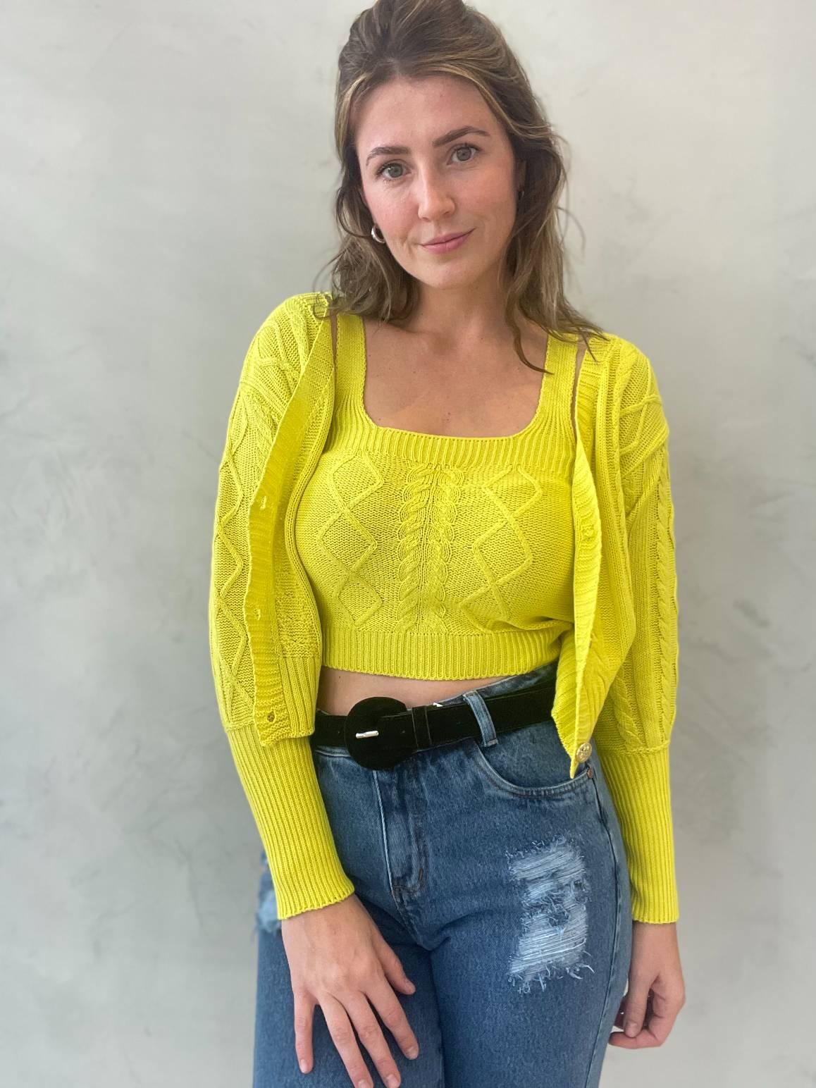 Twin Set de tricot Amarelo