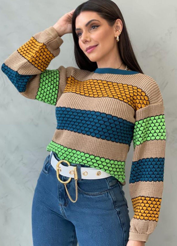 Blusa de Tricot Escamas Coloridas