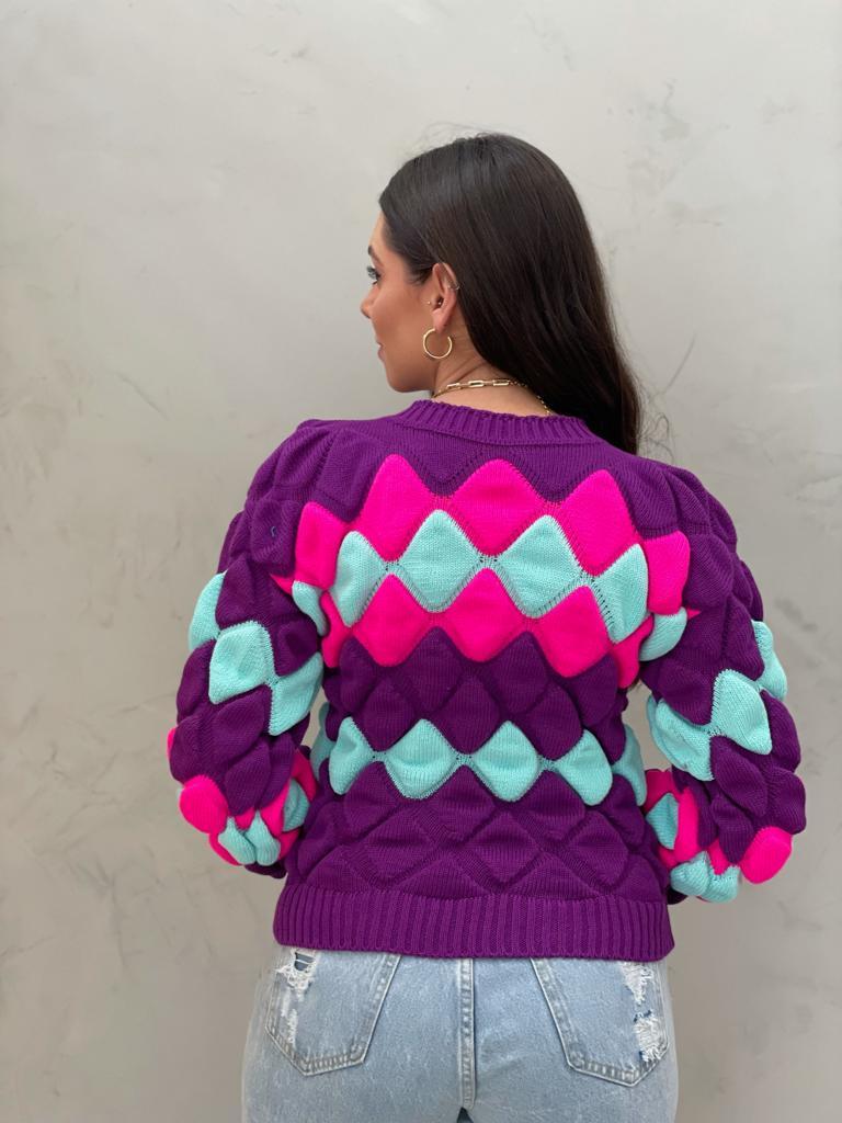 Blusa de tricot Escamas ROXA