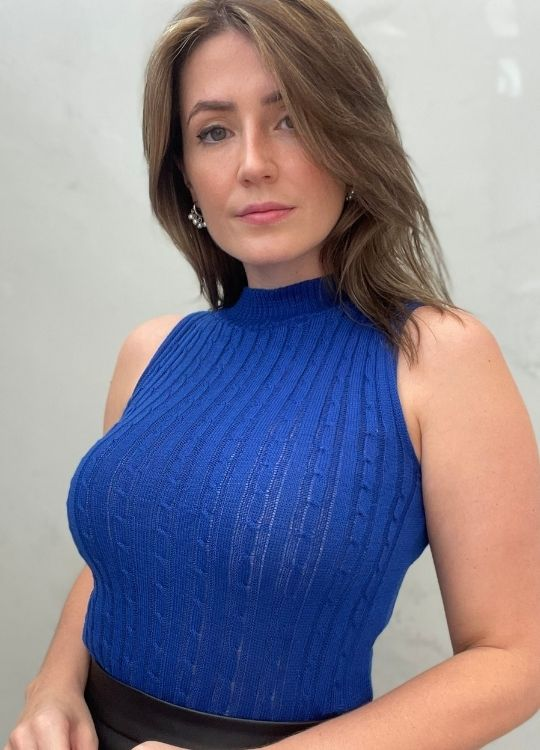 Blusa Regata de tricot gola alta Azul