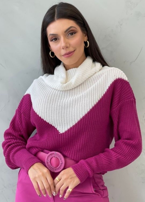 Blusa de tricot gola alta Uva