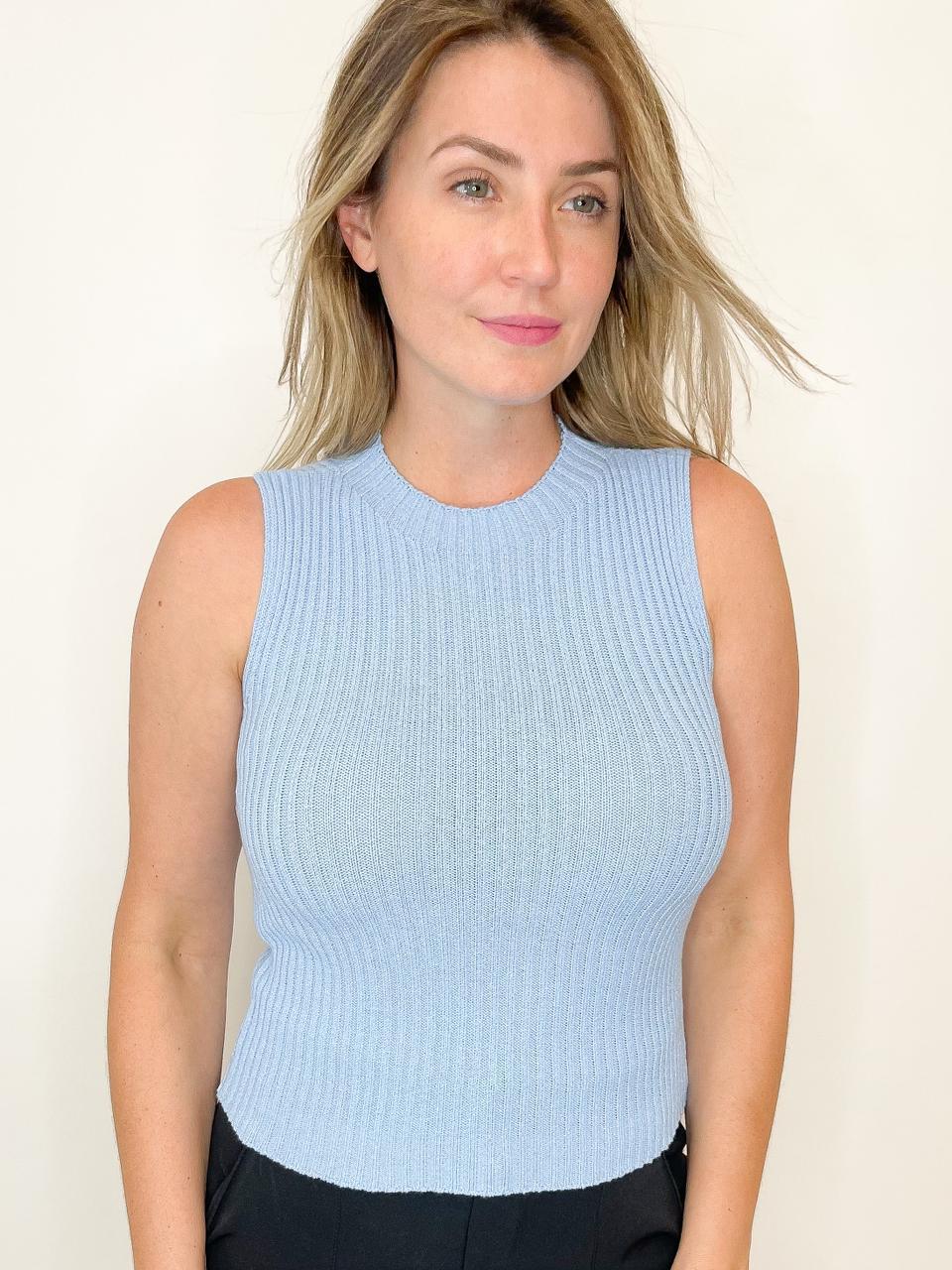 Blusa de Tricot gola redonda Azul Claro
