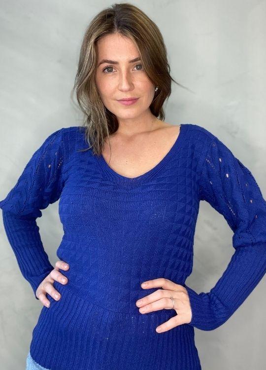Blusa de Tricot gola V Azul
