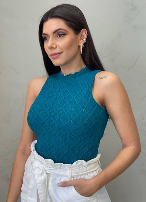 Blusa de Tricot losango azul