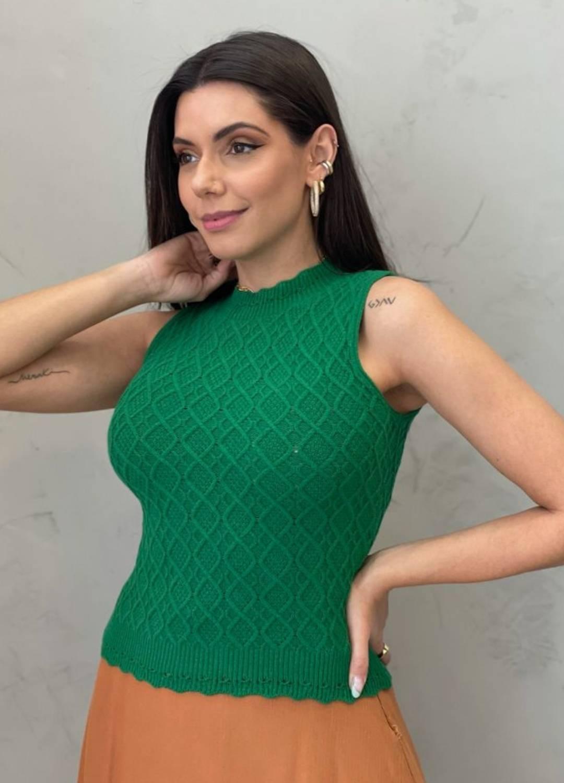 Blusa de Tricot losango verde