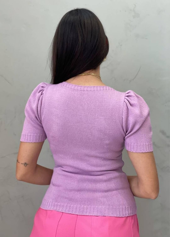 Blusa de  Tricot manga bufante lilás