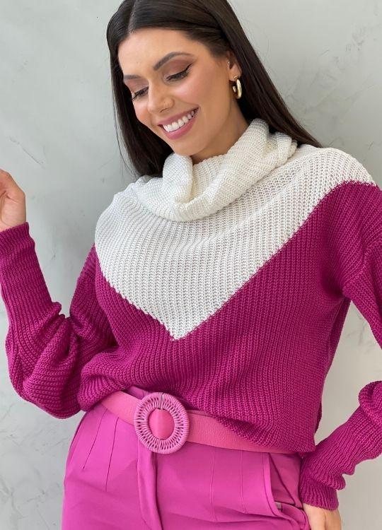 Blusa de tricot marsala com recorte branco