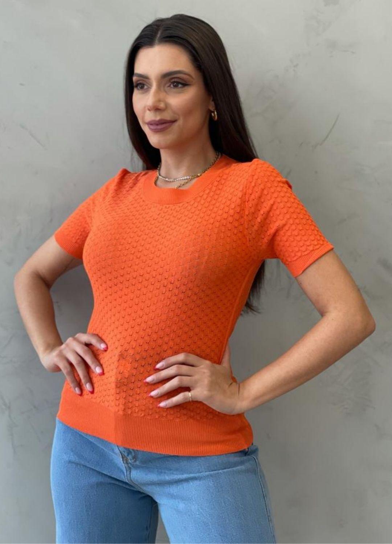 Blusa de Tricot MC laranja