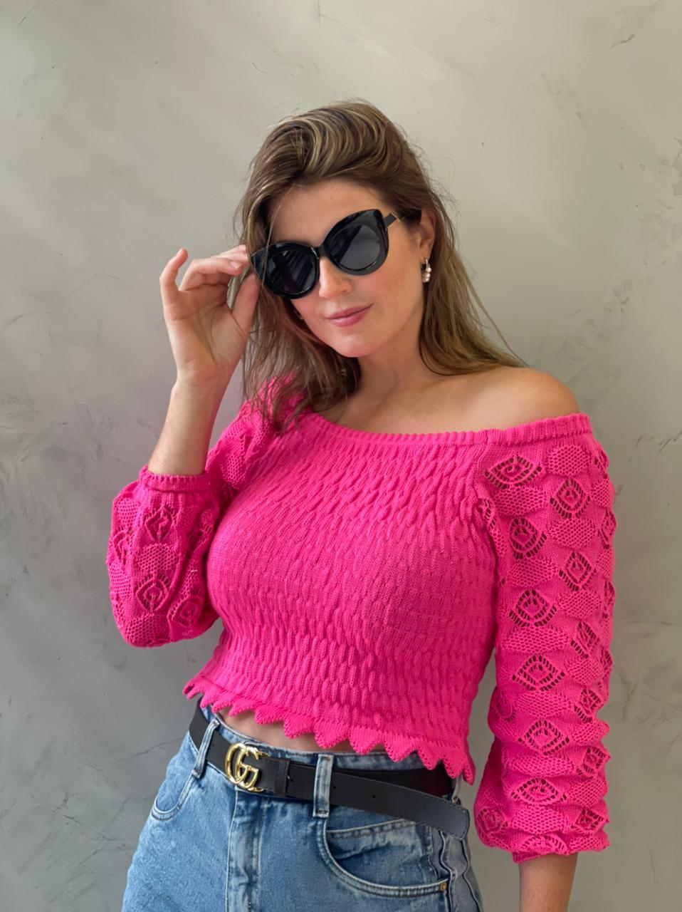 Blusa de Tricot ombro a ombro Pink