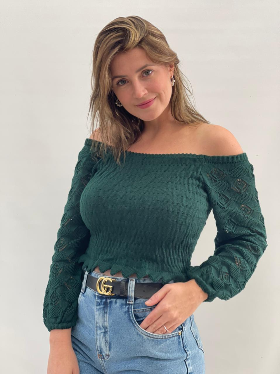 Blusa de Tricot ombro a ombro Verde