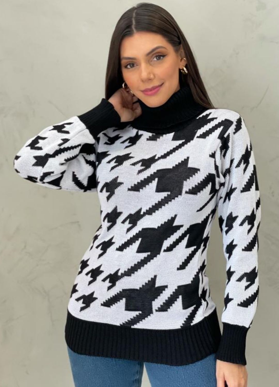 Blusa de tricot pied poule preta