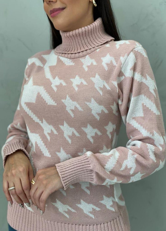 Blusa de tricot pied poule rose