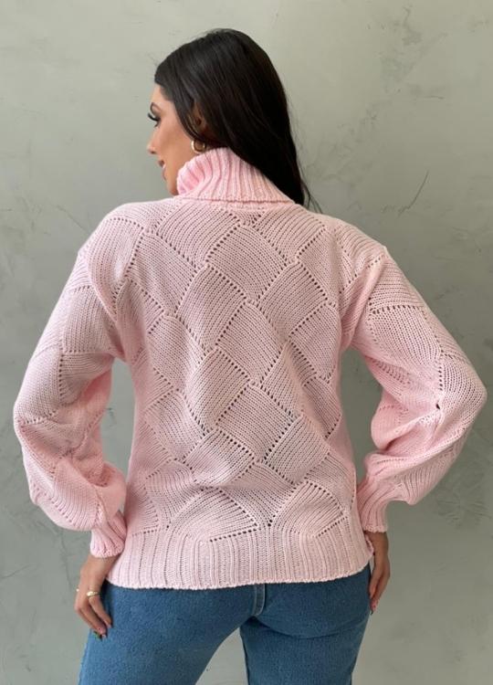 Blusa de tricot quadrado rosa bebe