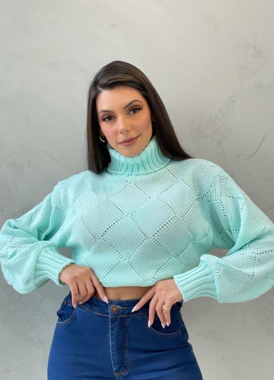 Blusa de tricot quadrado Verde