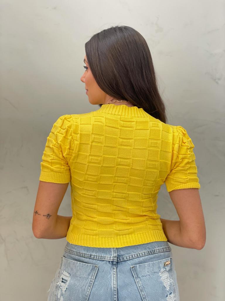 Blusa de Tricot retângular Amarelo