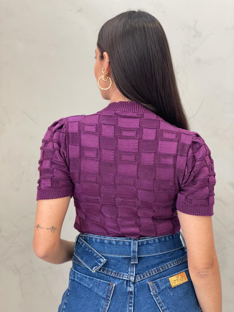 Blusa de Tricot retângular Bri roxa
