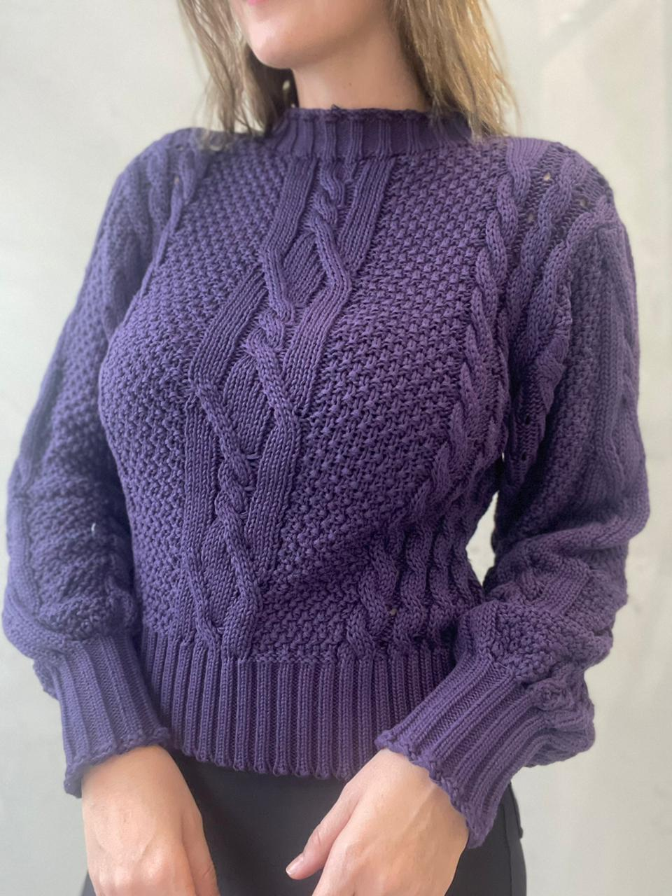 Blusa de tricot Roxo