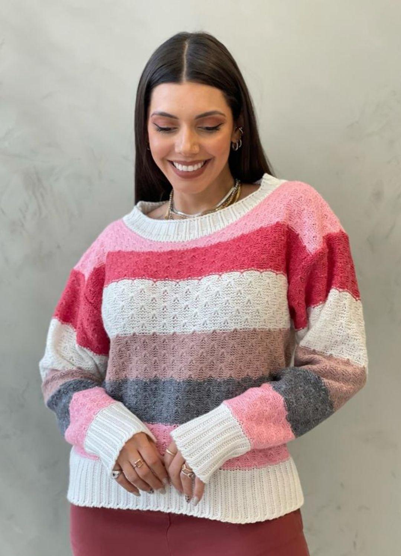 Blusa de tricot tons rosé