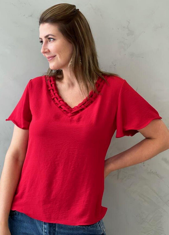 Blusa em Crepe Vermelha