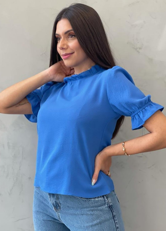 Blusa manga bufante Azul