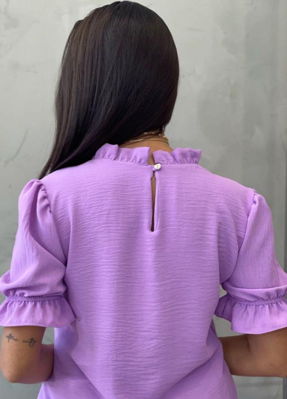 Blusa manga bufante lilás