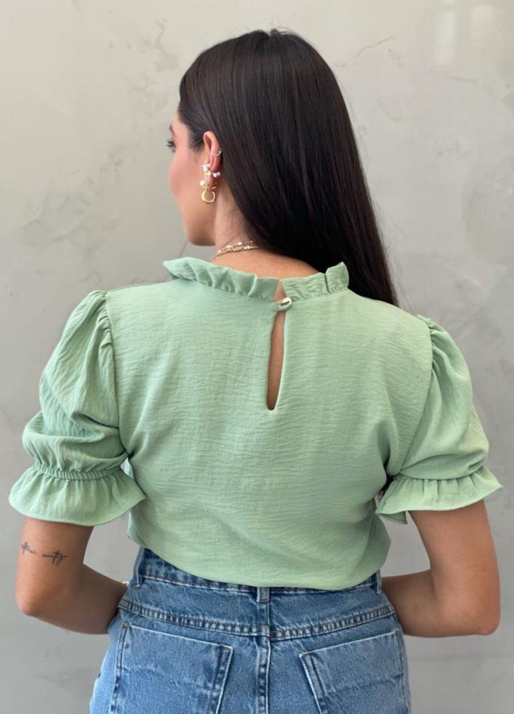 Blusa manga bufante verde