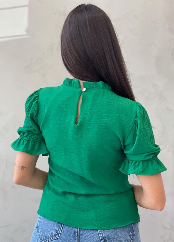 Blusa manga bufante verde bandeira