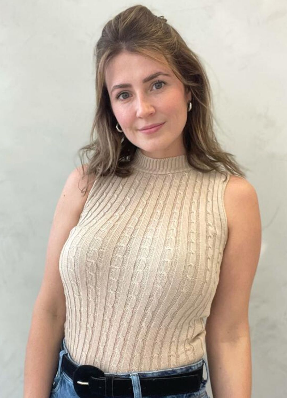 Blusa Regata de tricot gola alta com tramas Nude