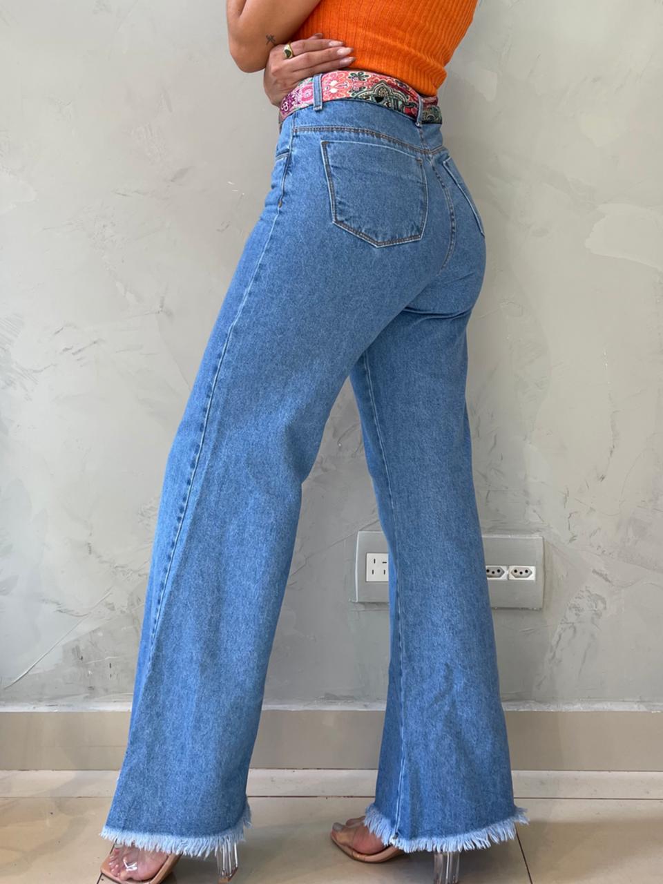 Calça jeans wide leg Ro
