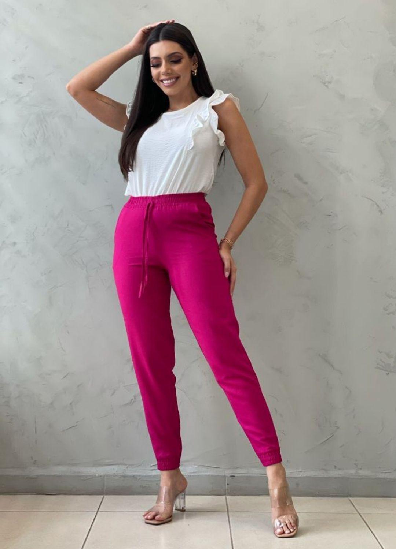 Calça Jogger Linho pink