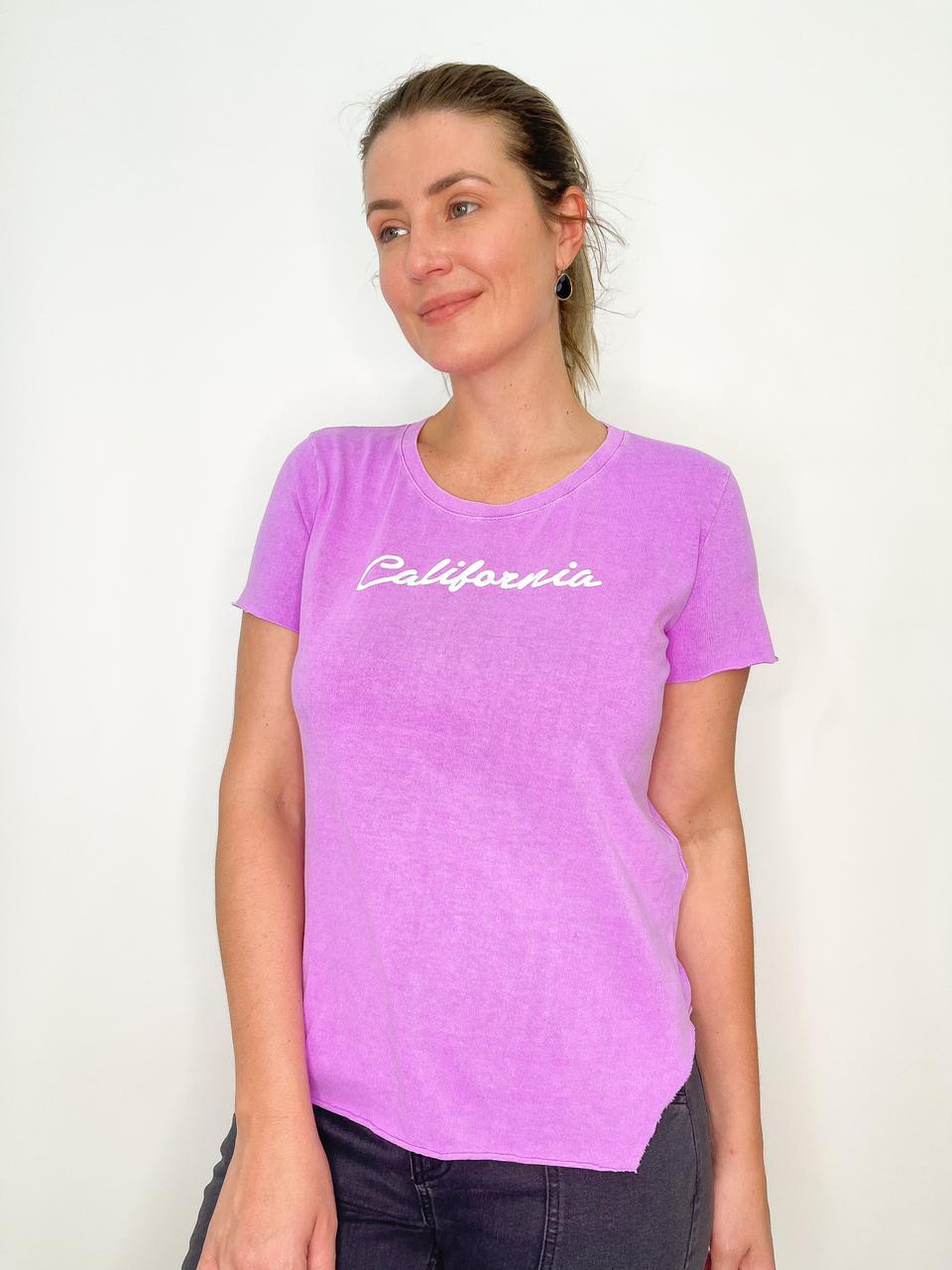 Camiseta de Algodão California Roxa