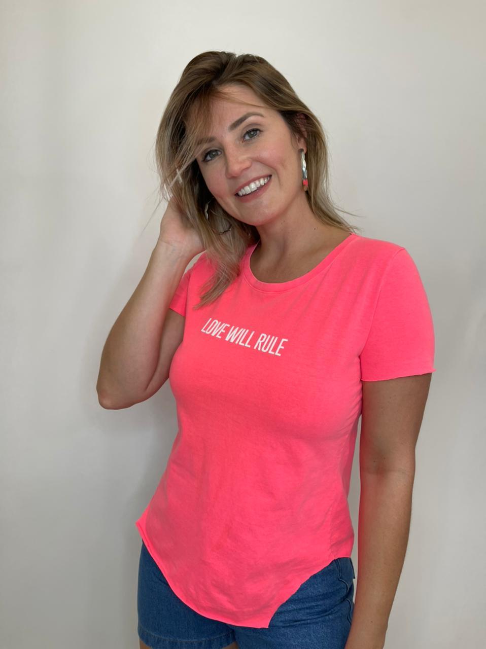 Camiseta de Algodão Love Will Rule Pink