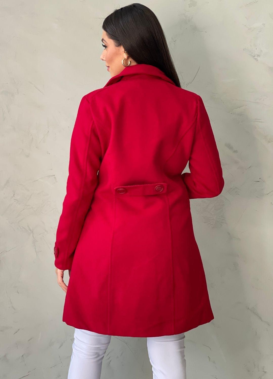 Casaco em lã batida Vermelho