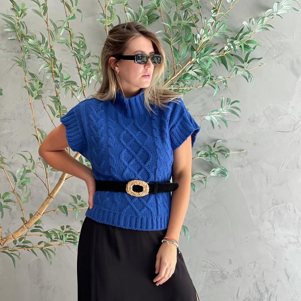 Colete de Tricot Azul