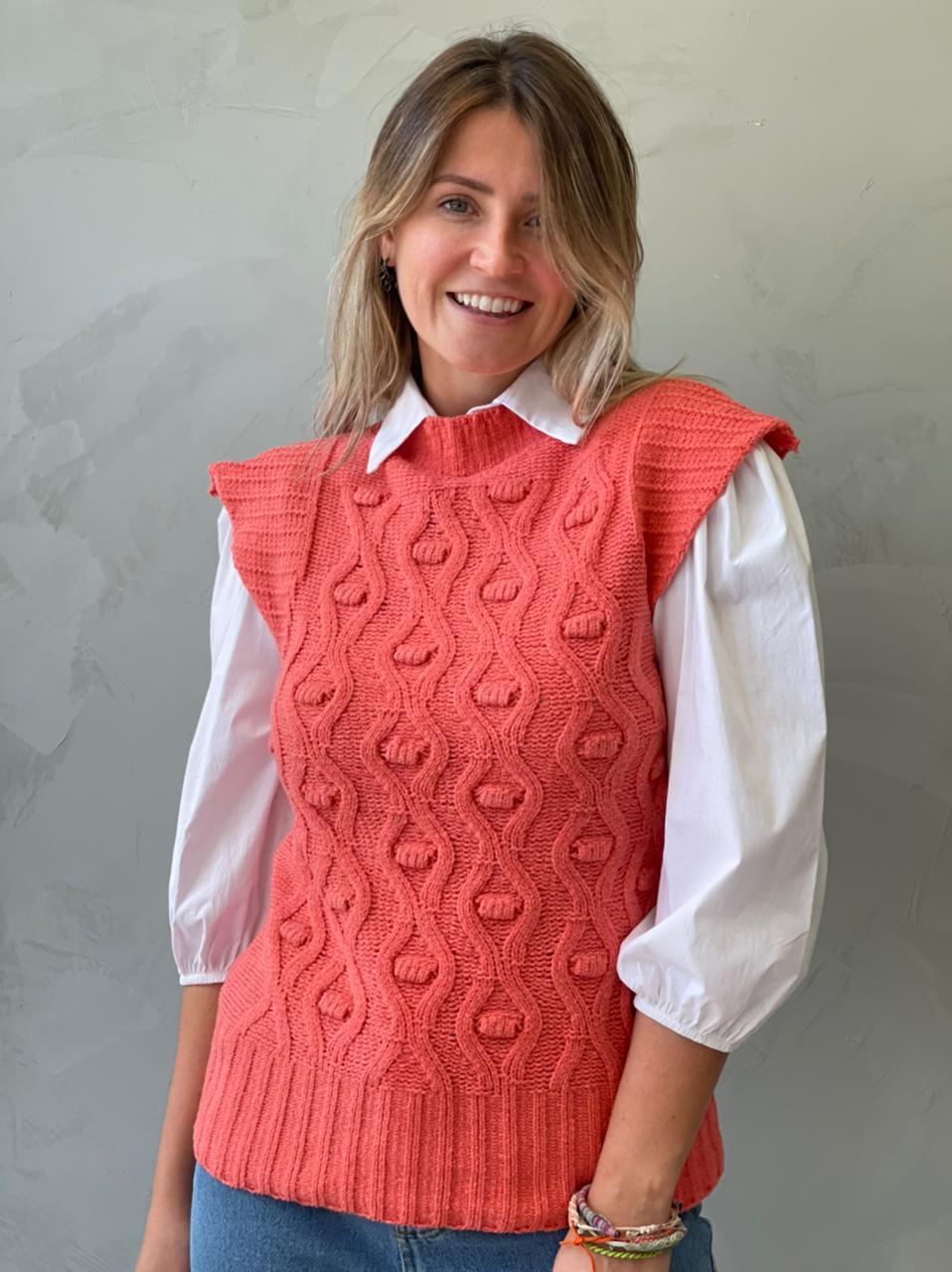 Colete de tricot laranja