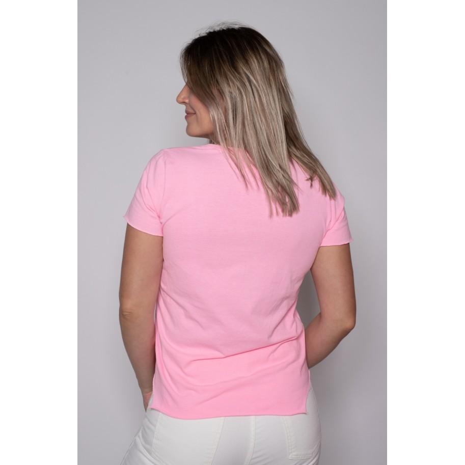 Camiseta de Algodão Create Yourself Rosa