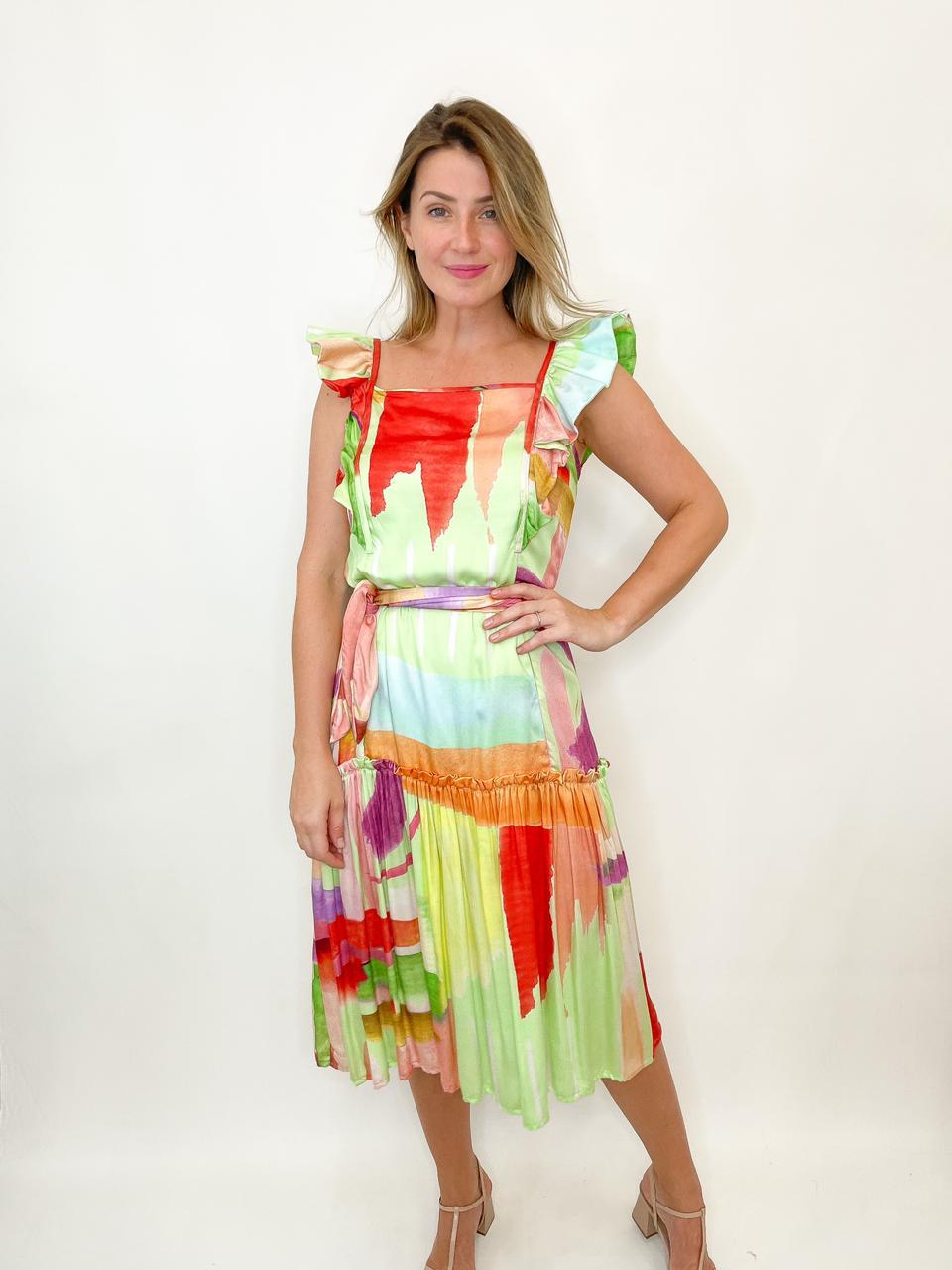 Vestido midi fluido colorido