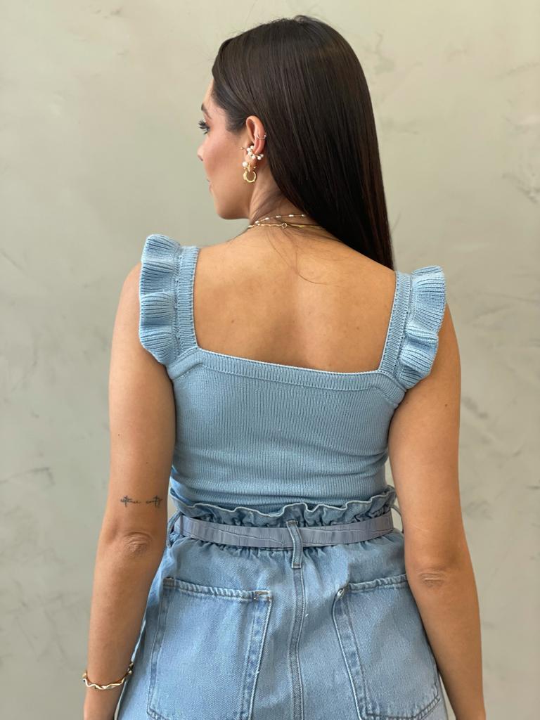 Cropped de Tricot Babado Azul