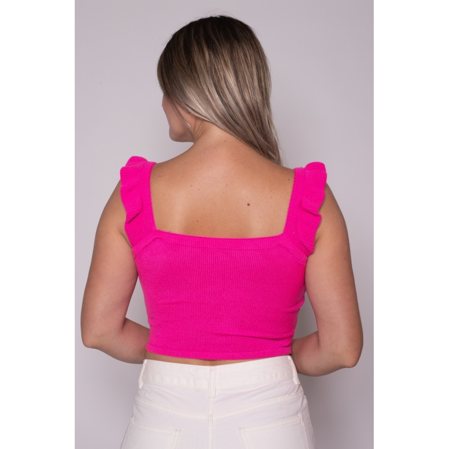 Cropped de Tricot Babado Rosa Pink