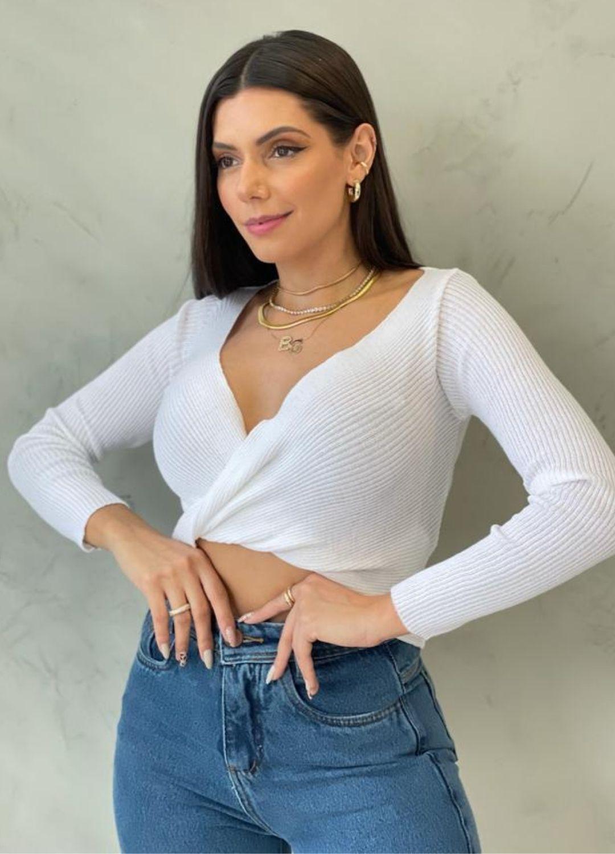 Cropped de tricot branca