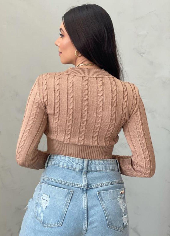 Cropped de tricot caqui