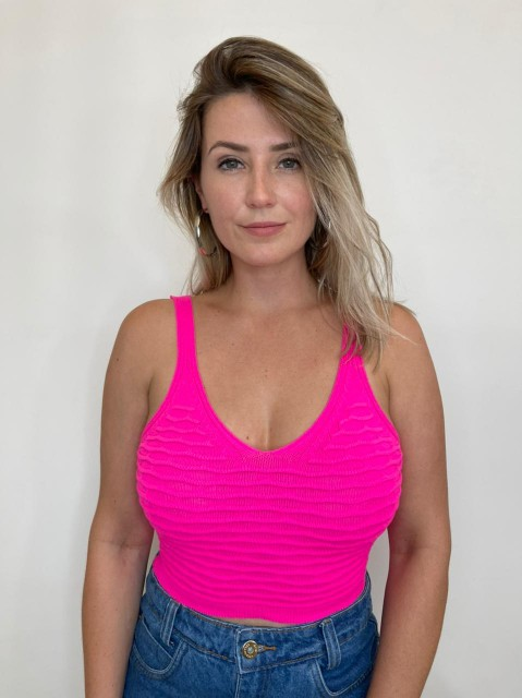 Cropped de Tricot Colmeia Rosa Pink