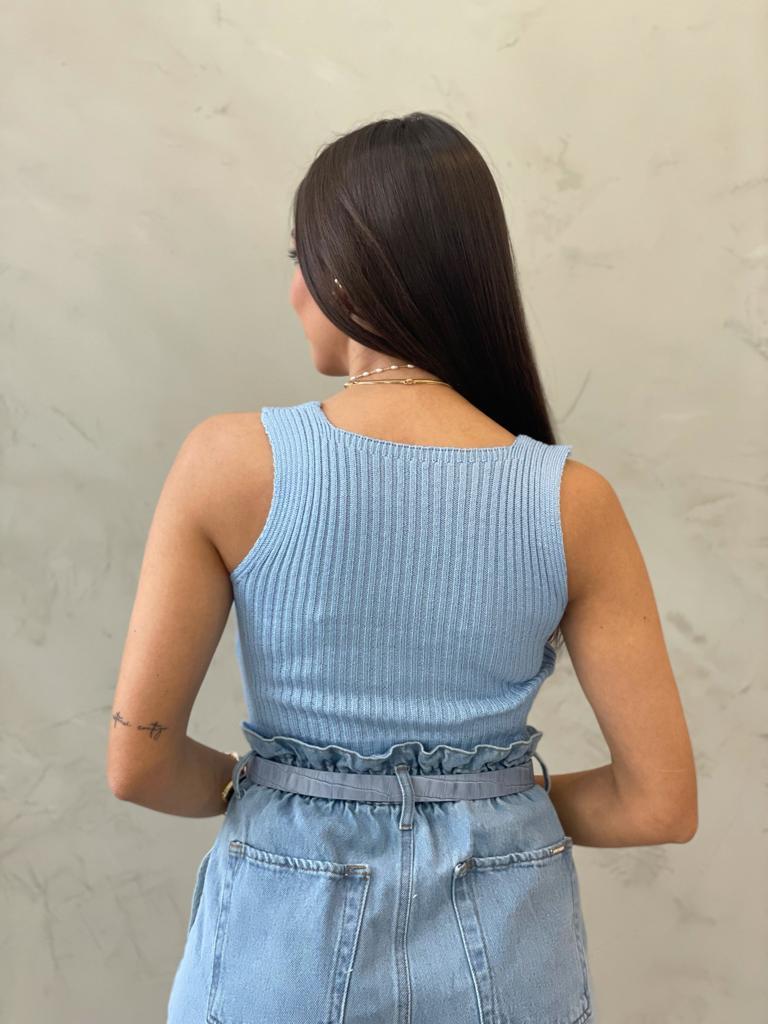 Cropped de Tricot Decote Reto Azul