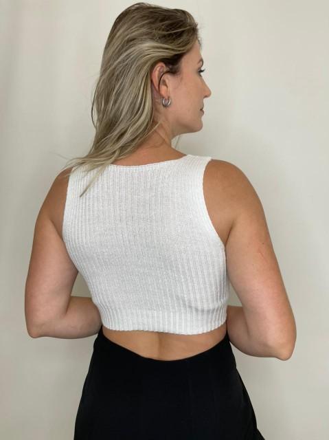 Cropped de Tricot Decote Reto Branco