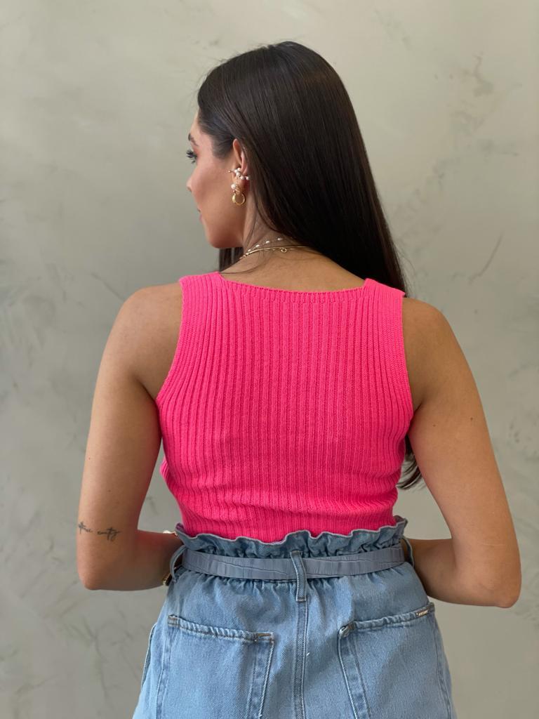 Cropped de Tricot Decote Reto pink