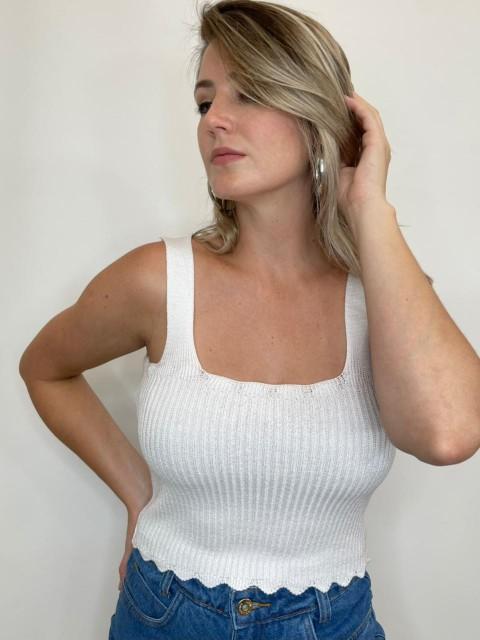 Cropped de tricot Florida Branco