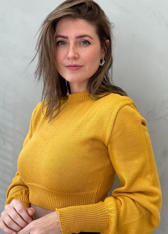 Cropped de tricot ML bufante mostarda