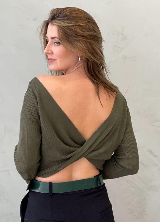Cropped de tricot ML verde militar