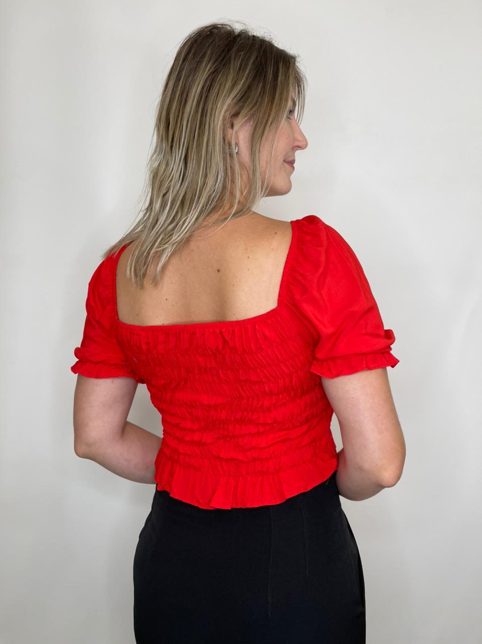 Cropped Lastex Vermelho Ombro a Ombro
